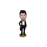 Wedding Bobbleheads Groom In Black Tuxedo
