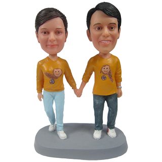 Personalized Couples Bobbleheads Hand In Hand In Yellow T-Shirt
