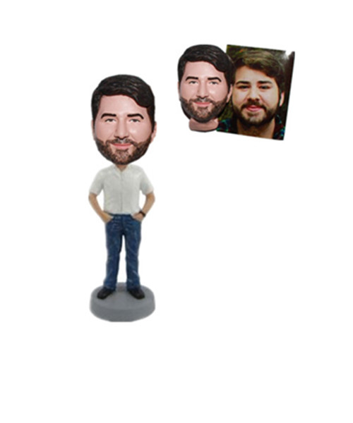 Custom Casual Man Bobblehead Hands in Pockets Promotional Gift