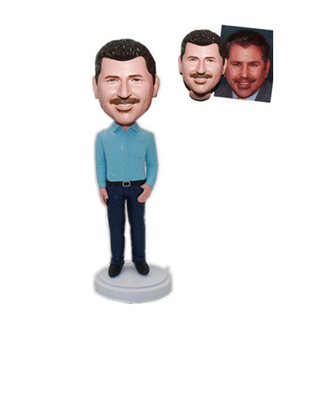 Custom Bobblehead Man in Blue Shirt