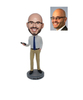 Personalized Custom Man Bobblehead with Phone in Hand