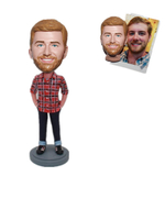 Custom Bobble Head Man in Plaid Shirt with Hands in Pockets