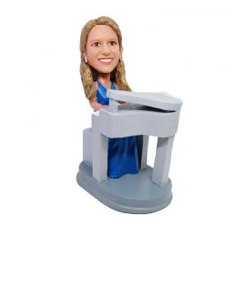 Personalized Custom Bobble Head Lady Playing Piano