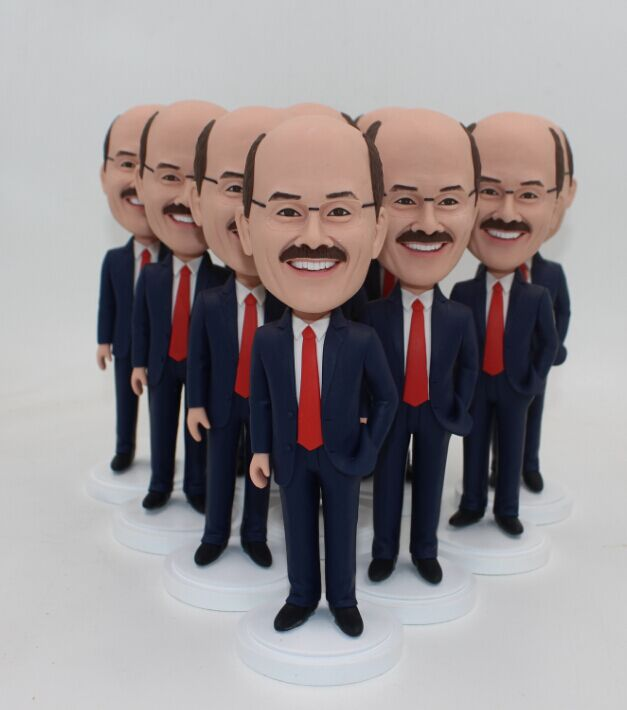Bobblehead Man in Blue Suit Red Tie Bulk Order