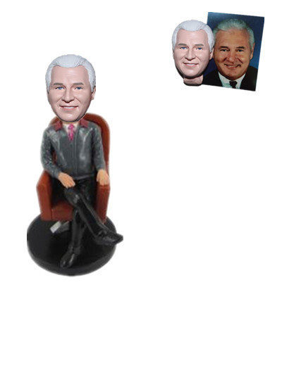 Personalized Male Bobblehead Boss Sitting in Sofa