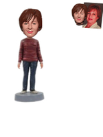 Custom Bobblehad Lady in Maroon Sweater