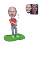 Custom Golf Bobble Head Golfer Swinging A Golf Club