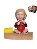 Custom Bobble Head Baby Girl Sitting on Sand Beach