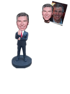 Custom Bobblehead Man in Suit in A Thinking Pose