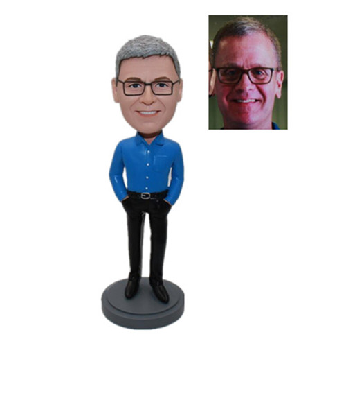 Fashion Mam in Blue Shirt with Hands in Pockets Custom Bobble Heads Company Gift