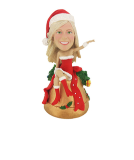 Custom Female Christmas Girls Bobble Head