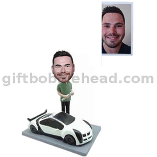 Custom Bobblehead Auto Mechanic Holding A Wrench