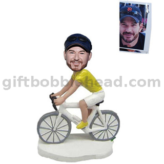Custom Biker Bobblehead Man Riding The Bike