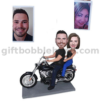 Custom Bobblehead Anniversary Gift Couple on The Harley Davidson Motorcycle