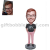 Custom Casual Male Bobblehead Man in Pink Color Pants
