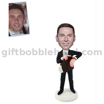 Custom Businessman Bobblehead Man in Business Suit with Portfolio