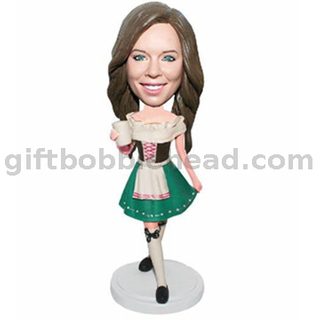 Custom Female Birthday Gift Lady in Victorian Dress with coffee in hand Custom Bobbleheads