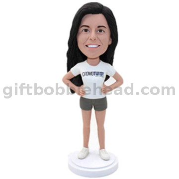 Custom Female Bobblehead Lady in White T-shirt Best Valentine's Day Gift for Wife