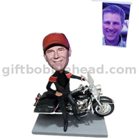 Custom Bobblehead Man on His Motorcycle with Hand on Waist