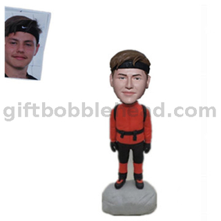 Personalized Custom Bobbleheads Man with Mountaineering Bag Climber