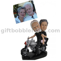 Custom Motorcycle Bobblehead Couple on Motorcycle