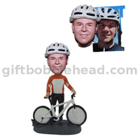 Personalized Biker Custom Bobblehead Man Holding His Bike