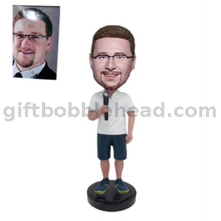 Custom Male Bobblehead Speaker Holding A Microphone