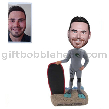 Man in Diving Suit with A Surfboard Custom Surfing Bobblehead