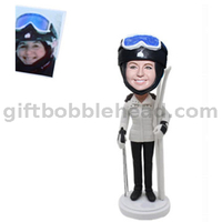 Female Bobblehead Custom Skiing Bobble Head Lady Holding The Skis
