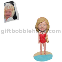 Custom Baby Bobblehead Little Girl on The Beach with A Surfboard Birthday Gift