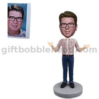 Man in Plaid Shirt Custom Bobble Head Talking Bobbleheads speaker
