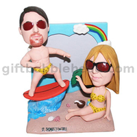 Custom Bobblehead Couple on The Beach Man Sailing on The Surfboard