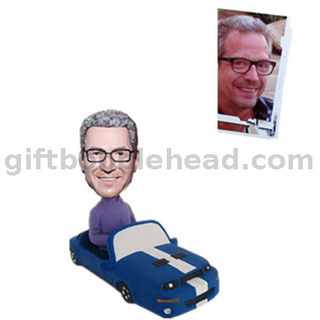 Custom Bobblehead Man in Blue Color Car