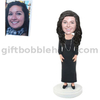 Custom Female Bobblehead Lady in Black Dress with Necklace Around Her Neck Mothers' Day Gift