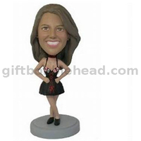 Custom Female Bobble Head Lady in Black Sex Dress