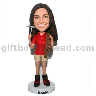 Personalized Custom Bobblehead Female Climber with Hammer And Rope