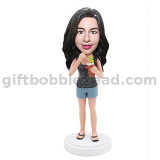 Custom Female Casual Bobblehead Lady with Cocktail