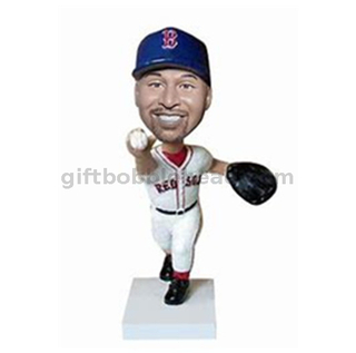 Baseball Custom Bobblehead Player Catching The Ball