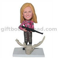 Hunter Bobblehead Female with A Hun And Deer